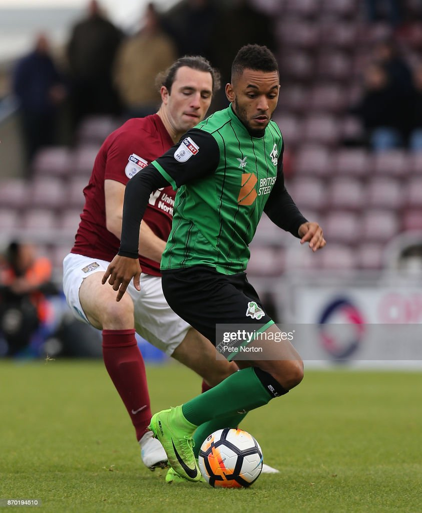 Funso Ojo of Scunthorpe United in action during The Emirates FA Cup First Round match between Northampton Town and Scunthorpe United at Sixfields on November 4, 2017 in Northampton, England.