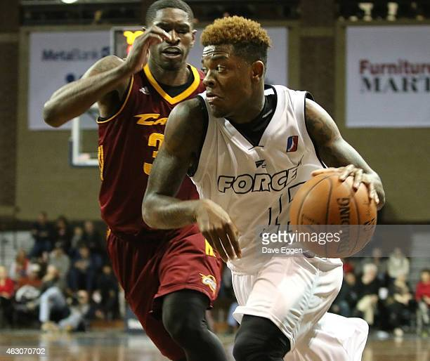 Fuquan Edwin from the Sioux Falls Skyforce drives against Brandon Paul from the Canton Charge in the second half of their NBA DLeague game February 6...