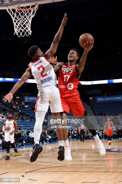 Fuquan Edwin of the Raptors 905 goes to the basket against the Agua Caliente Clippers on March 22 2018 at the Citizens Business Bank Arena in Ontario...