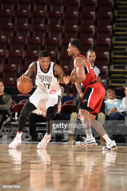 Fuquan Edwin of the Raptors 905 handles the ball during the NBA GLeague Showcase Game 22 between the Sioux Falls Skyforce and the Raptors 905 on...