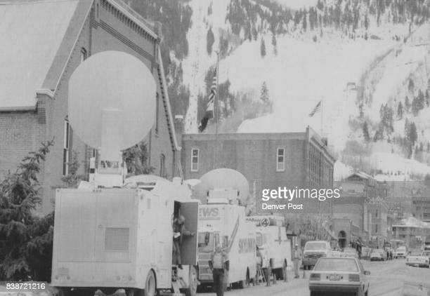 Fur Ban Opponents Television satellite trucks parked in front of the Aspen City Hall Monday afternoon Aspen mountain rises in the background Credit...