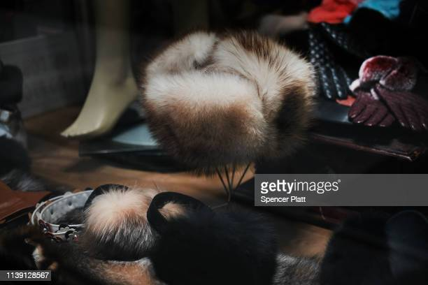 Fur coats and hats are displayed in the window of a fur store in the fur district in Manhattan on March 29 2019 in New York City Under new...