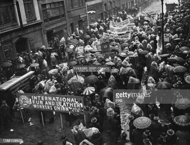 Fur workers and members of the Fur Unions hold a parade and rally demanding arms for Haganah and assistance for the Jewish residents of Palestine, in...