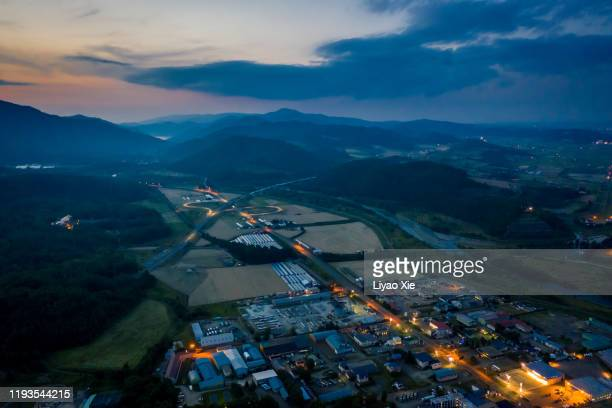 furano night aerial view - liyao xie stock pictures, royalty-free photos & images