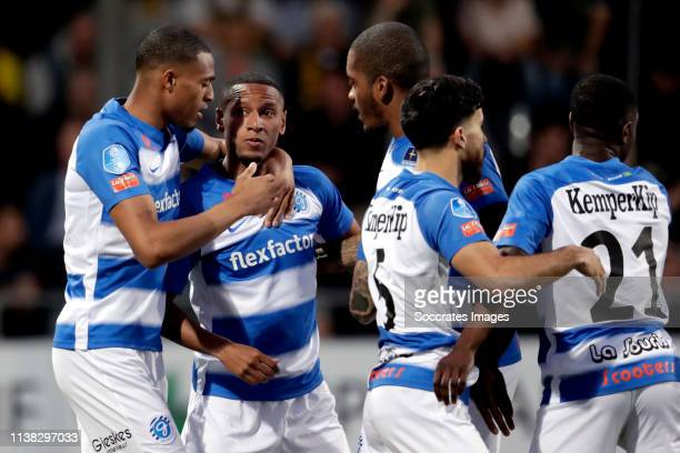 Furdjel Narsingh of De Graafschap celebrates 01 with Delano Burgzorg of De Graafschap Charlison Benschop of De Graafschap Jordy Tutuarima of De...