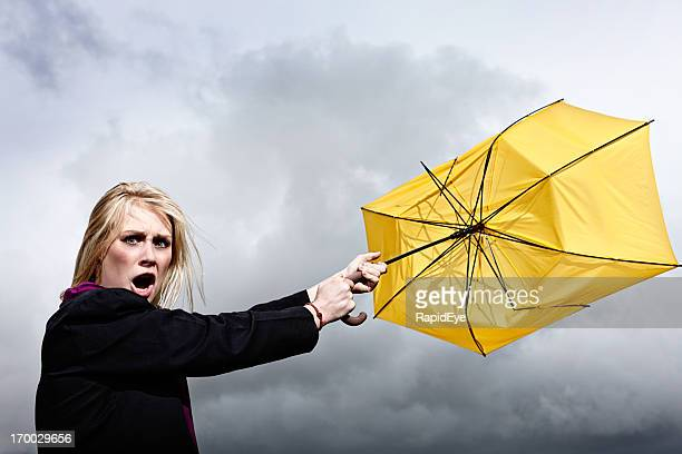 furious blonde is tugged through thunderstorm by ruined umbrella - gale stock photos and pictures