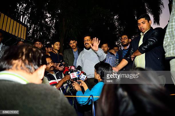 Furious Delhi Chief Minister Arvind Kejriwal addresses media on CBI raid at the office of his Principal Secretary on December 12 2015 in New Delhi...