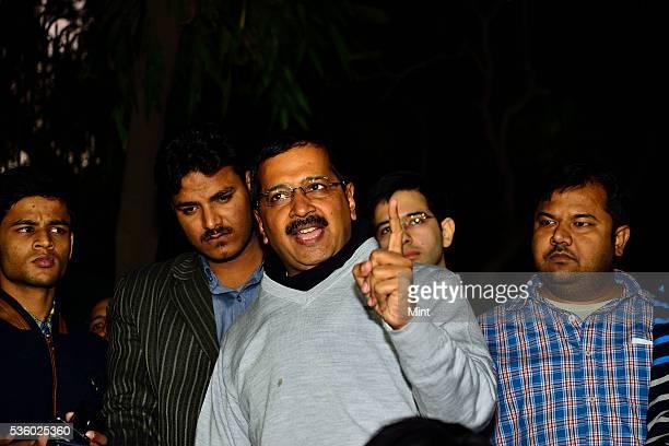 Furious Delhi Chief Minister Arvind Kejriwal addresses media on CBI raid at the office of his Principal Secretary on December 12, 2015 in New Delhi,...