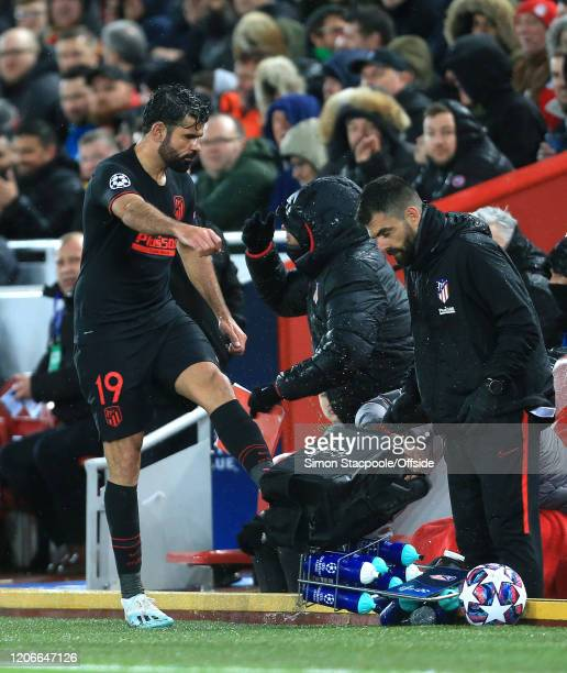A furious Diego Costa of Atletico kicks a water bottle holder as he is subbed off during the UEFA Champions League round of 16 second leg match...