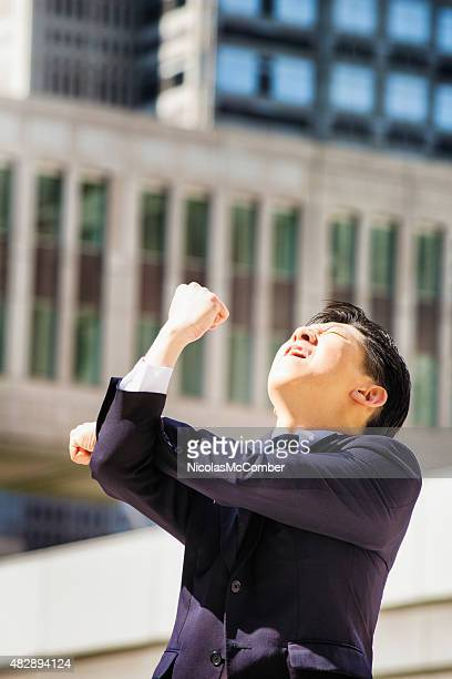 Furious Japanese man makes obscene gesture at sky