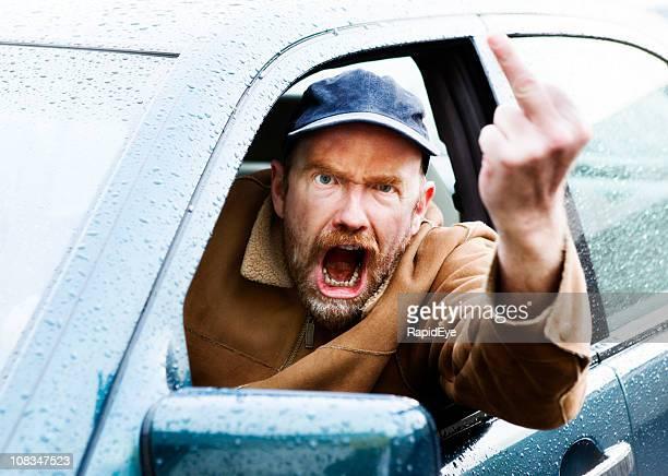 熱狂的な男性が、運転手が「bouncer