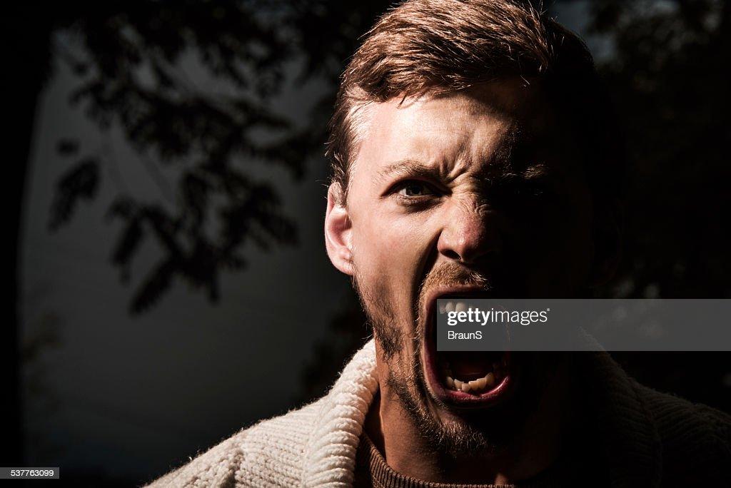 Furious man outdoors. : Stock Photo