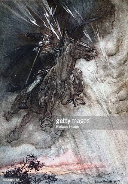 Furiously Wotan is riding to the rock Illustration for The Rhinegold and The Valkyrie by Richard Wagner 1910 Private Collection Artist Rackham Arthur