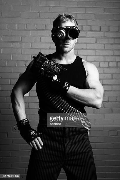 Furistic male mit cyborg Brillen und Waffe