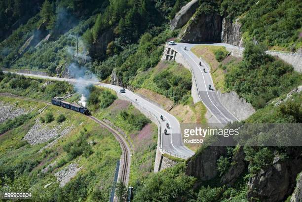 furka cogwheel steam railway (dampfbahn furka-bergstrecke) - rhone alpes stock photos and pictures