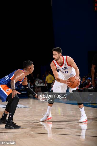 Furkan Korkmaz of the Delaware 87ers dribbles the basketball against the Westchester Knicks during the game at the Bob Carpenter Center in Newark...