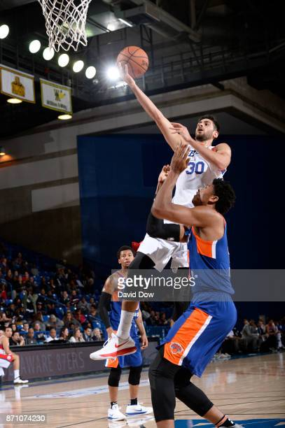 Furkan Korkmaz of the Delaware 87ers shoots the basketball against the Westchester Knicks during the game at the Bob Carpenter Center in Newark...