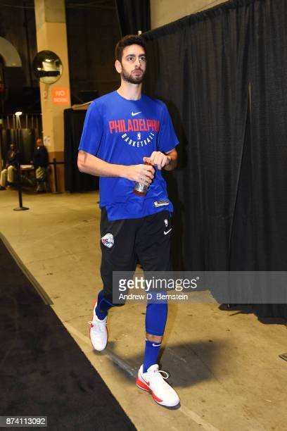 Furkan Korkmaz of the Philadelphia 76ers arrives at the arena before the game against the Golden State Warriors on November 11 2017 at ORACLE Arena...