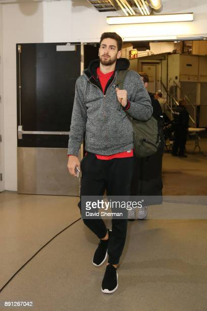 Furkan Korkmaz of the Philadelphia 76ers arrives before the game against the Minnesota Timberwolves on December 12 2017 at Target Center in...