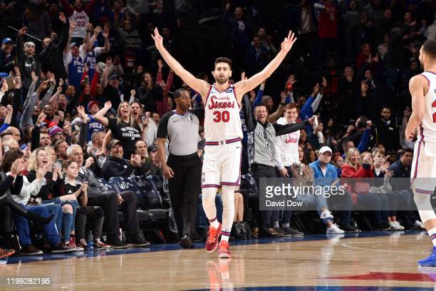 Furkan Korkmaz of the Philadelphia 76ers celebrates a made three point basket during the game against the Memphis Grizzlies on February 7 2020 at the...