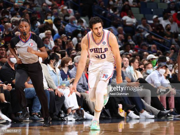 Furkan Korkmaz of the Philadelphia 76ers celebrates during the game against the New Orleans Pelicans on October 20, 2021 at the Smoothie King Center...