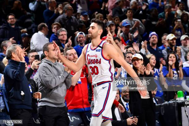 Furkan Korkmaz of the Philadelphia 76ers checks out of the game against the Memphis Grizzlies after scoring a career high of 34 points on February 7...