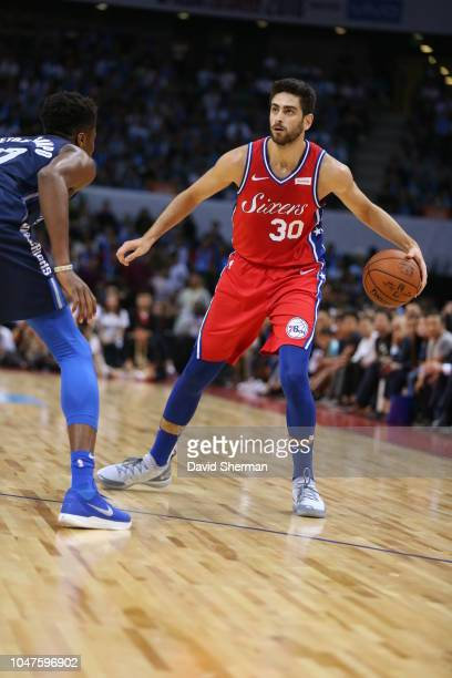 Furkan Korkmaz of the Philadelphia 76ers dribbles during the game as part of the 2018 China Games on October 8 2018 at the Shenzhen Universiade...