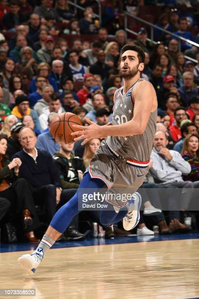 Furkan Korkmaz of the Philadelphia 76ers drives to the basket against the Indiana Pacers on December 14 2018 at the Wells Fargo Center in...