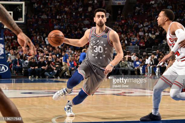 Furkan Korkmaz of the Philadelphia 76ers drives to the basket against the Chicago Bulls on April 10 2019 at the Wells Fargo Center in Philadelphia...