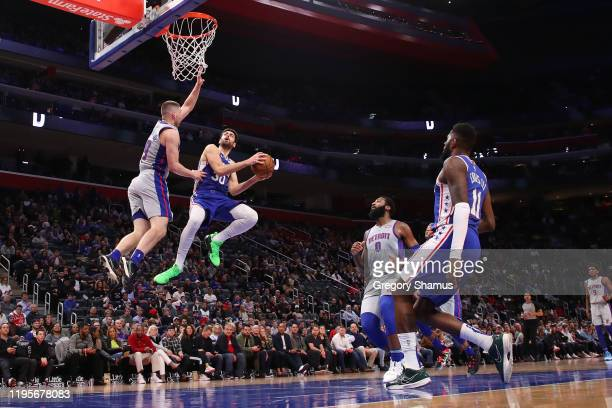 Furkan Korkmaz of the Philadelphia 76ers drives to the basket against Sviatoslav Mykhailiuk of the Detroit Pistons during the second half at Little...