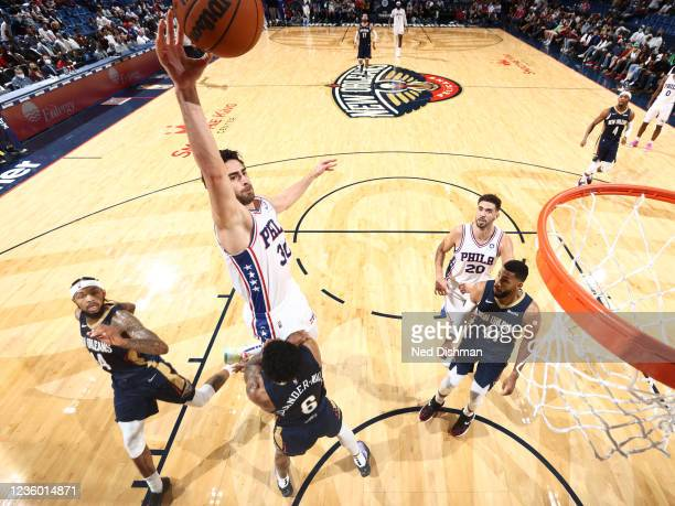 Furkan Korkmaz of the Philadelphia 76ers drives to the basket against the New Orleans Pelicans on October 20, 2021 at the Smoothie King Center in New...