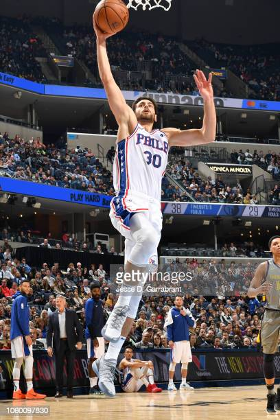 Furkan Korkmaz of the Philadelphia 76ers dunks the ball against the Memphis Grizzlies on November 10 2018 at FedExForum in Memphis Tennessee NOTE TO...