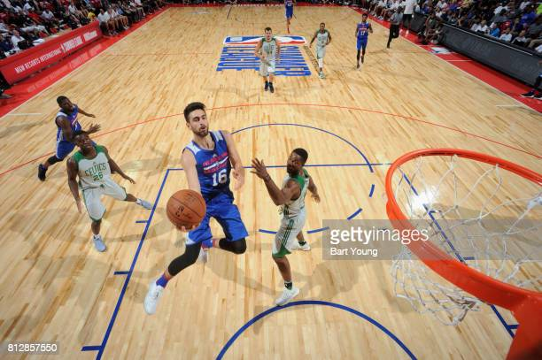 Furkan Korkmaz of the Philadelphia 76ers goes to the basket against the Boston Celtics on July 11 2017 at the Thomas Mack Center in Las Vegas Nevada...