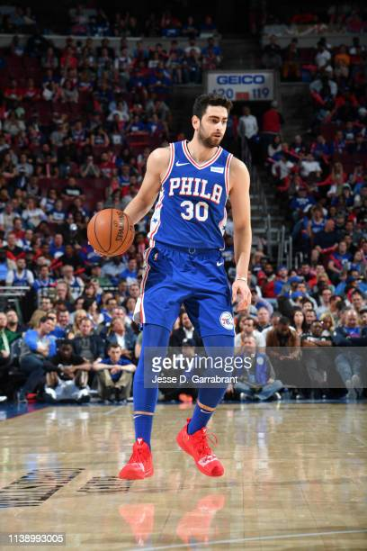 Furkan Korkmaz of the Philadelphia 76ers handles the ball against the Brooklyn Nets during Round One Game Five of the 2019 NBA Playoffs on April 23...