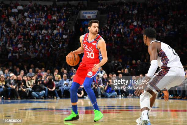 Furkan Korkmaz of the Philadelphia 76ers handles the ball against the Brooklyn Nets on January 15 2020 at the Wells Fargo Center in Philadelphia...