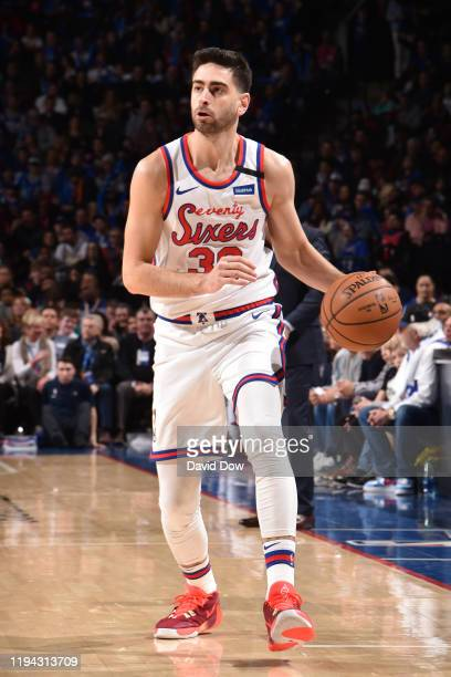 Furkan Korkmaz of the Philadelphia 76ers handles the ball against the Chicago Bulls on January 17 2020 at the Wells Fargo Center in Philadelphia...