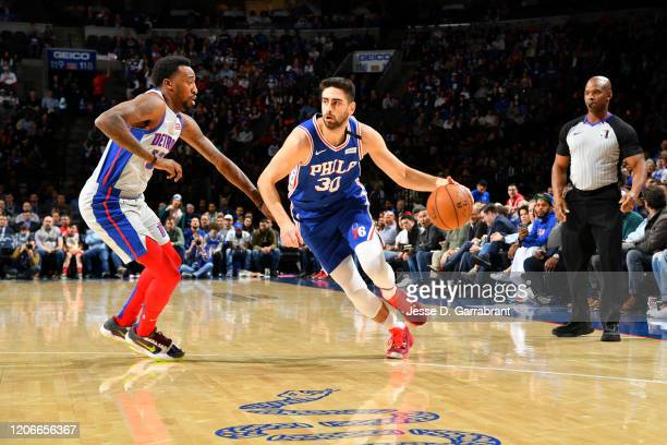 Furkan Korkmaz of the Philadelphia 76ers handles the ball against the Detroit Pistons on March 11 2020 at the Wells Fargo Center in Philadelphia...
