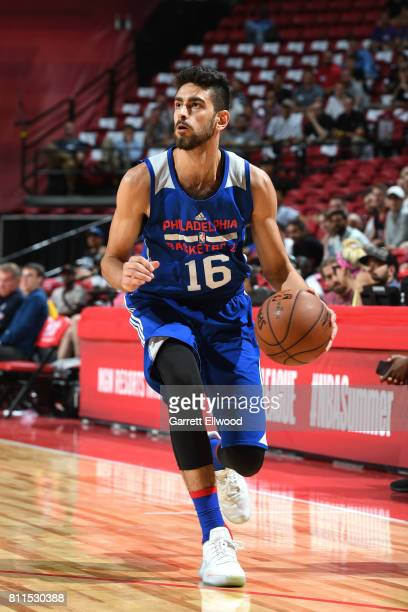 Furkan Korkmaz of the Philadelphia 76ers handles the ball against the San Antonio Spurs during the 2017 Las Vegas Summer League on July 9 2017 at the...