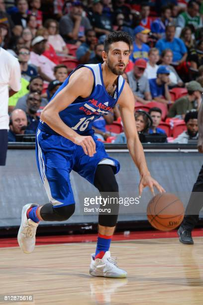 Furkan Korkmaz of the Philadelphia 76ers handles the ball against the Boston Celtics on July 11 2017 at the Thomas Mack Center in Las Vegas Nevada...