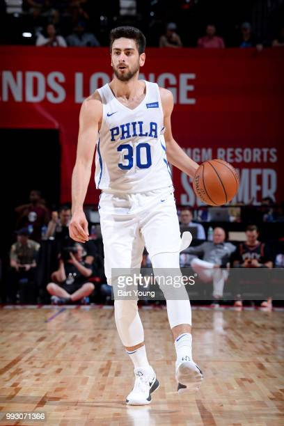 Furkan Korkmaz of the Philadelphia 76ers handles the ball against the Boston Celtics during the 2018 Las Vegas Summer League on July 6 2018 at the...
