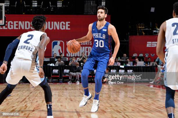 Furkan Korkmaz of the Philadelphia 76ers handles the ball against the Memphis Grizzlies during the 2018 Las Vegas Summer League on July 15 2018 at...