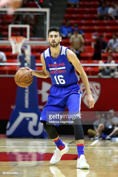 Furkan Korkmaz of the Philadelphia 76ers handles the ball during the game against the San Antonio Spurs during the 2017 Utah Summer League on July 6...
