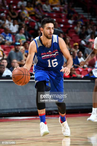 Furkan Korkmaz of the Philadelphia 76ers handles the ball during the game against the Golden State Warriors during the 2017 Las Vegas Summer League...