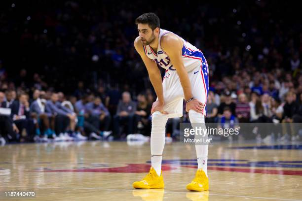 Furkan Korkmaz of the Philadelphia 76ers looks on against the Charlotte Hornets at the Wells Fargo Center on November 10 2019 in Philadelphia...
