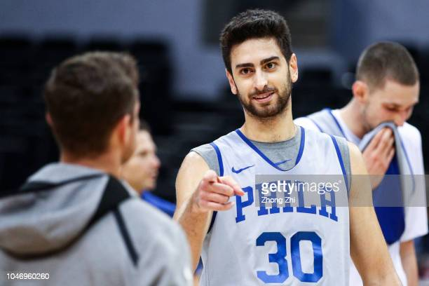 Furkan Korkmaz of the Philadelphia 76ers looks on during the practice as part of the 2018 NBA China Games between the Dallas Mavericks and the...