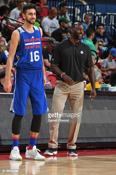Furkan Korkmaz of the Philadelphia 76ers looks on from the sidelines against the Golden State Warriors during the 2017 Las Vegas Summer League on...