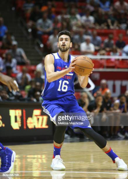 Furkan Korkmaz of the Philadelphia 76ers passes the ball against the Utah Jazz on July 5 2017 during the 2017 NBA Utah Summer League game at the Jon...