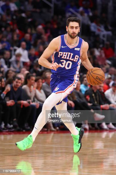 Furkan Korkmaz of the Philadelphia 76ers plays against the Detroit Pistons at Little Caesars Arena on December 23 2019 in Detroit Michigan NOTE TO...