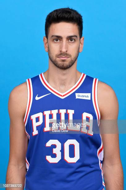 Furkan Korkmaz of the Philadelphia 76ers poses for a head shot at the Wells Fargo Center in Philadelphia Pennsylvania on September 21 2018 NOTE TO...