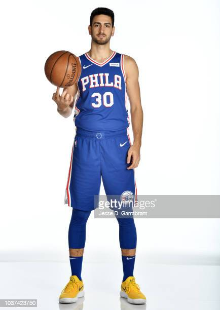Furkan Korkmaz of the Philadelphia 76ers poses for a portrait at the Wells Fargo Center in Philadelphia Pennsylvania on September 21 2018 NOTE TO...
